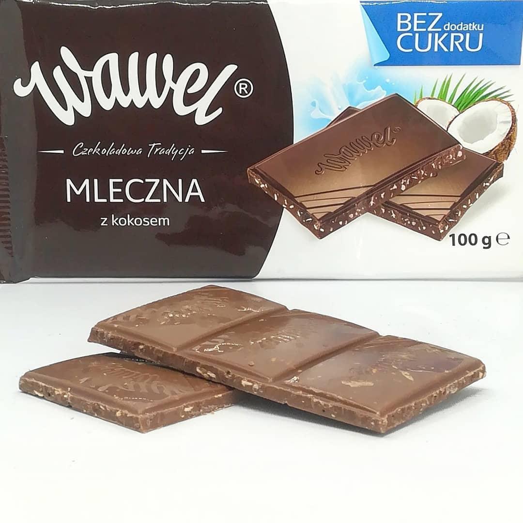 Wawel czekolada bez cukru – mleczna z kokosem!