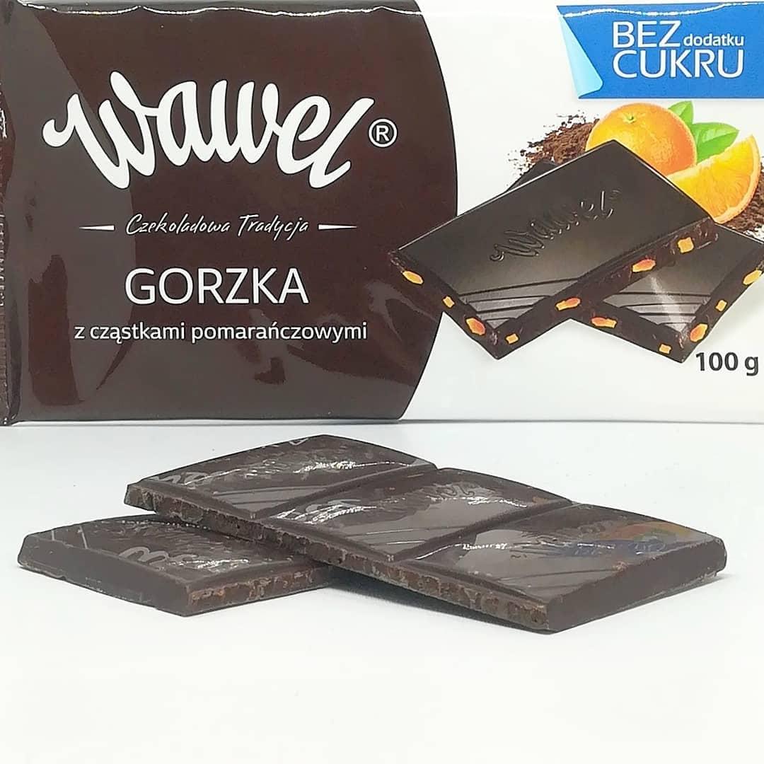 Wawel czekolada bez cukru – gorzka z pomarańczą!