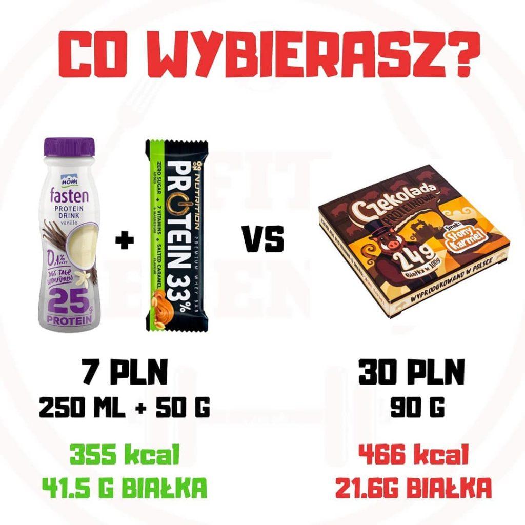 Fit zestaw vs czekolada proteinowa